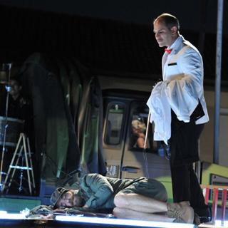 Eric Bougnon (Le Diable), Jonathan Harscoët (Le Soldat) et Blanche Konrad (La Princesse)